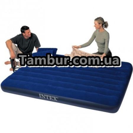 Надувной матрас INTEX ROYAL двухспальный+ручной насос+2 подушки