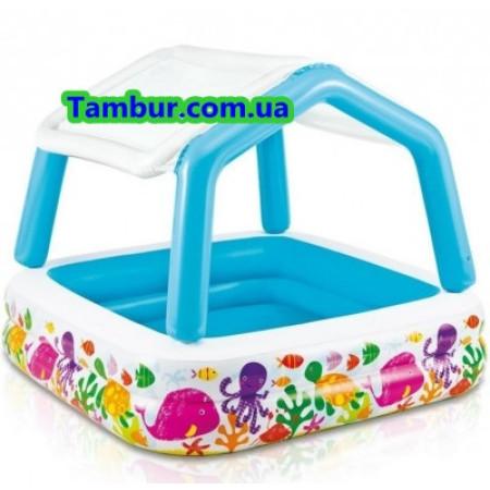 Детский надувной бассейн с навесом INTEX (157 СМ Х 157 СМ Х 122 СМ)