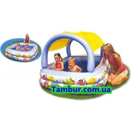 Детский надувной бассейн с навесом INTEX (161 СМ Х 161 СМ Х 114 СМ X 42 СМ)