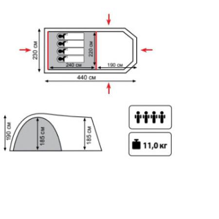 Кемпинговая палатка ANACONDA 4 (V2)