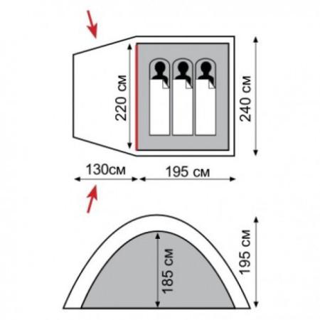 Кемпинговая палатка  Bell 3  (V2)