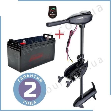 Лодочный электромотор для троллинга Fisher 36 + аккумулятор AGM 100Ah