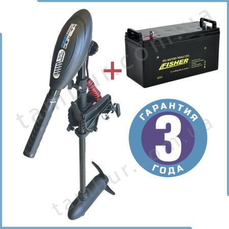 Лодочный электромотор для троллинга  Haswing Osapian 30Lbs черный 12В + гель Fisher 90Ah