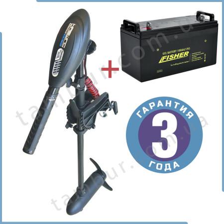 Лодочный электромотор для троллинга  Haswing Osapian 40Lbs черный 12В + гель Fisher 100Ah